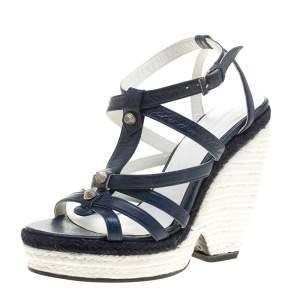 Balenciaga Blue/White Leather Espadrille Wedge Sandals Size 38