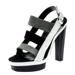 Balenciaga Tricolor Suede and Leather Open Toe Cage Sandals Size 37