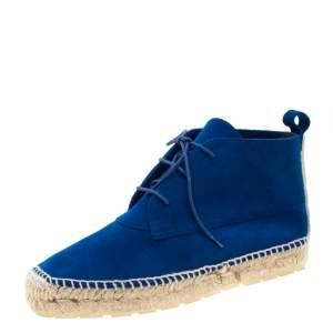 Balenciaga Blue Suede Chukka Espadrille Boots Size 38