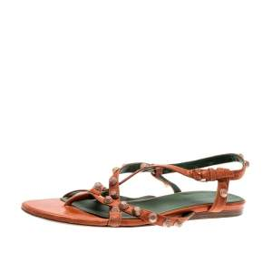 Balenciaga Orange Anthracite Lambskin Leather Arena Strappy Flat Thong Sandals Size 40
