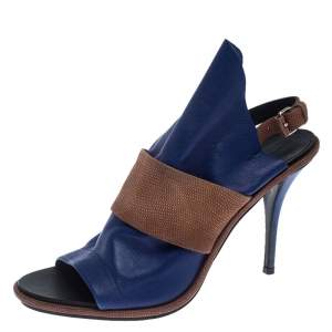 Balenciaga Blue/Brown Leather Open Toe Glove Slingback Sandals Size 40