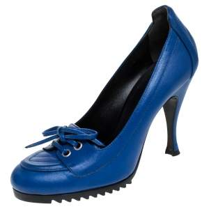 Balenciaga Blue Leather Loafer Pumps Size 37