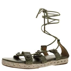 Balenciaga Green Leather Espadrille Ankle Wrap Flats Sandals Size 37