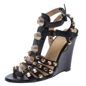 Balenciaga Black Leather Arena Studded Gladiator Wedge Sandals Size 38.5