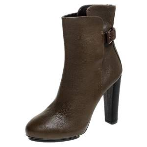 Balenciaga Brown/Black Textured Leather Block Heel Ankle Boots Size 38.5
