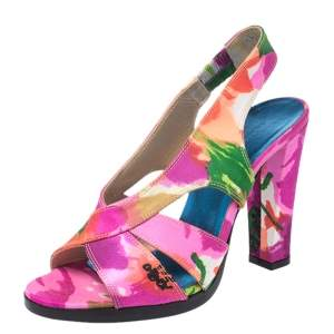 Balenciaga Multicolor Printed Satin Slingback Open Toe Sandals Size 37