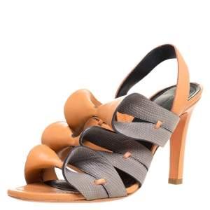 Balenciaga Light Orange/Grey Ruffle Leather and Lizard Embossed Sling Back Sandals Size 36