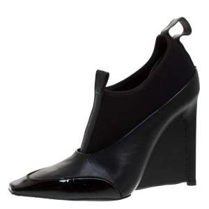Balenciaga Black Leather and Neoprene Scuba Wedge Ankle Boots Size 40