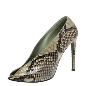 Balenciaga Lime Green/Black Python Split Vamp Open Toe Booties Size 37