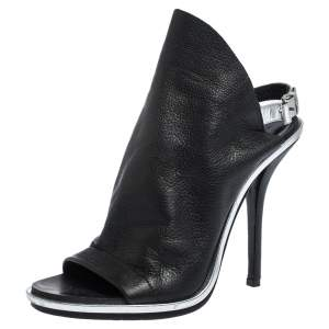 Balenciaga Black Leather Open Toe Glove Slingback Sandals Size 38.5