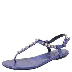 Balenciaga Purple Leather Studded Ankle Strap Flat Sandals Size 37