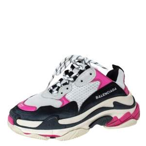 Balenciaga Multicolor Nubuck, Mesh And Leather Triple S Trainer Sneakers Size 37