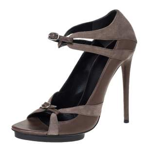Balenciaga Grey Suede And Leather Double Buckle Strap Platform Sandals Size 40