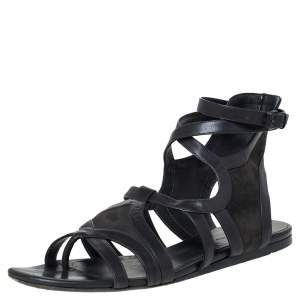 Balenciaga Grey Leather Gladiator Flat Sandals Size 40.5
