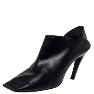 Balenciaga Black Leather Quadro Square Toe Foldable Heel Mules Size 39