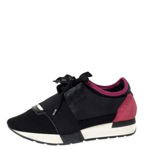 Balenciaga Black/Pink Leather And Mesh Race Runner Low Top Sneakers Size 37