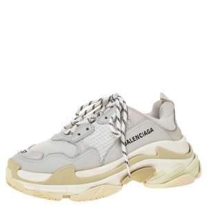 Balenciaga White Leather And Mesh Triple S Platform Sneakers Size 37