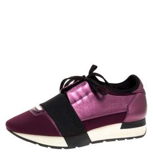 Balenciaga Purple/Black Leather and Fabric Race Runner Sneakers Size 36