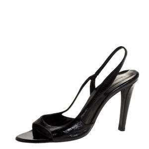 Balenciaga Black Patent Leather Slingback Sandals Size 39