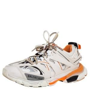 Balenciaga White/Orange Rubber And Mesh Track Trainers Size 39