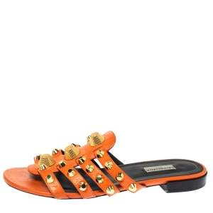 Balenciaga Orange Studded Leather Arena Strappy Flat Slides Size 39