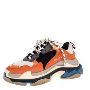 حذاء رياضي بالنسياغا نعل سميك تريبل أس شبك وجلد متعدد الألوان مقاس 36