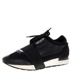 Balenciaga Black Leather, Suede and Mesh Race Runner Sneakers Size 38