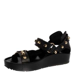 Balenciaga Black Leather Arena Studded Platform Sandals Size 36
