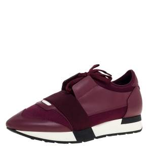 Balenciaga Burgundy Leather And Mesh Race Runner Low Top Sneakers Size 40