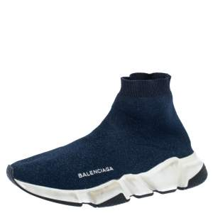 Balenciaga Shimmery Navy Blue Knit Fabric Speed Trainer Sneakers Size 40