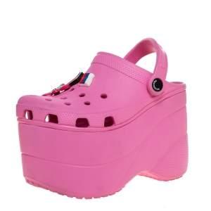 Balenciaga Pink Rubber Crocs Embellished Platform Slingback Sandals Size 35