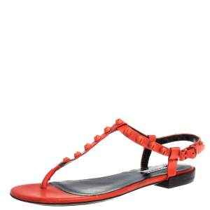 Balenciaga Orange Leather Arena Studded Strappy Flat Thong Sandals Size 39