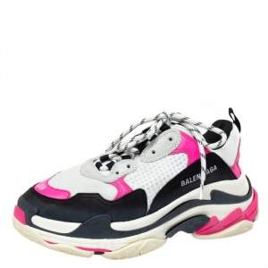 Balenciaga White/Pink Mesh And Leather Triple S Platform Sneakers Size 39