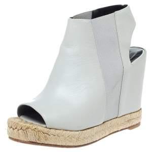 Balenciaga Grey Leather Espadrille Open Toe Slingback Wedge Sandals Size 36