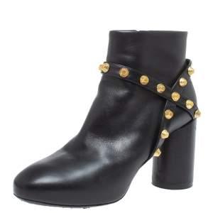 حذاء بوت كاحل بالنسياغا مرصع سويدي وجلد أسود مقاس 35.5