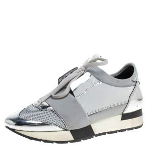 Balenciaga Silver/Grey Leather And Mesh Race Runner Low Top Sneakers Size 37