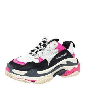 Balenciaga Pink/Black Leather And Mesh Triple S Lace Up Sneakers Size 37