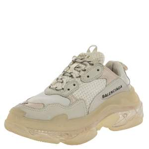 Balenciaga White/Beige Leather And Mesh Triple S Trainer Sneakers Size 37