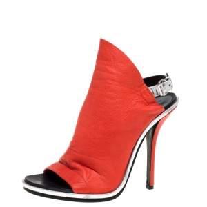 Balenciaga Red/Black Leather Glove Peep Toe Sandals Size 38.5