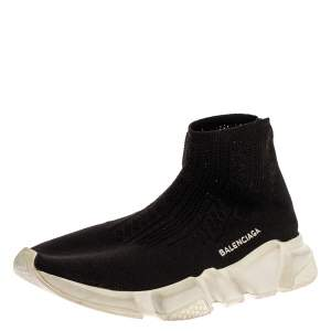 Balenciaga Black Knit Fabric Sock Sneakers Size 39