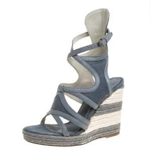 Balenciaga Grey Denim and Leather Trim Gladiator Wedge Platform Sandals Size 39