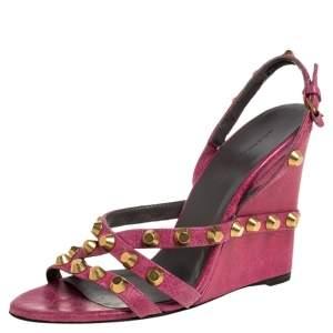 Balenciaga Pink Leather Studded Slingback Wedge Sandals Size 38.5