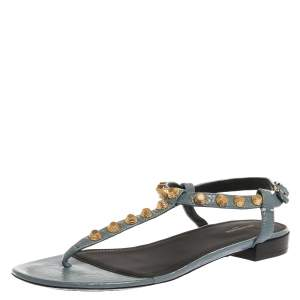 Balenciaga Grey Leather Studded Thong Flat Sandals Size 39