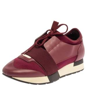 Balenciaga Burgundy Leather And Mesh Race Runner Sneakers Size 37