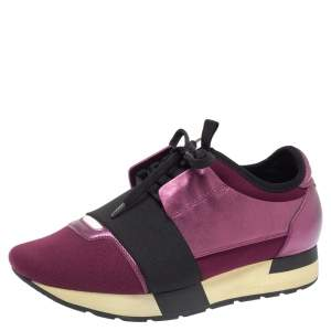Balenciaga Burgundy Leather And Fabric Race Runner Low Top Sneakers Size 37