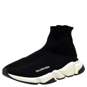 Balenciaga Black Knit Speed Trainer Sneakers Size 41