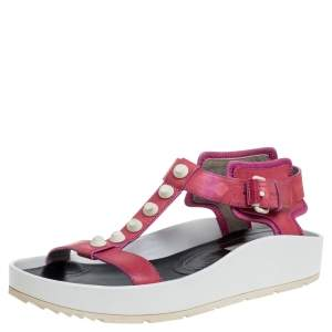 Balenciaga Pink Studded Leather T-Strap Platform Sandals Size 38