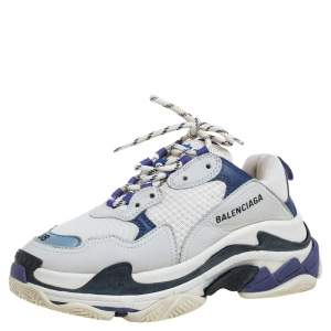 Balenciaga White/Blue Leather And Mesh Triple S Clear Sneakers Size 38