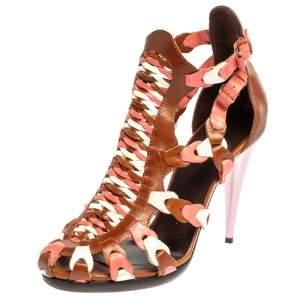 Balenciaga Tri Color Leather Interlocking Strappy Ankle Strap Sandals Size 41