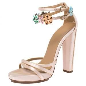 Balenciaga Blush Pink Satin Floral Embellished Ankle Strap Sandals Size 37